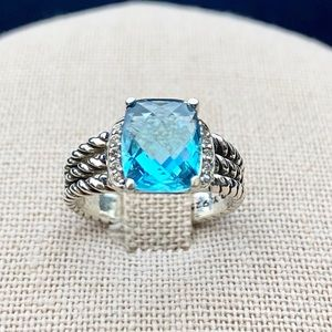 💫David Yurman Petite Wheaton Blue Topaz Ring Sz 7